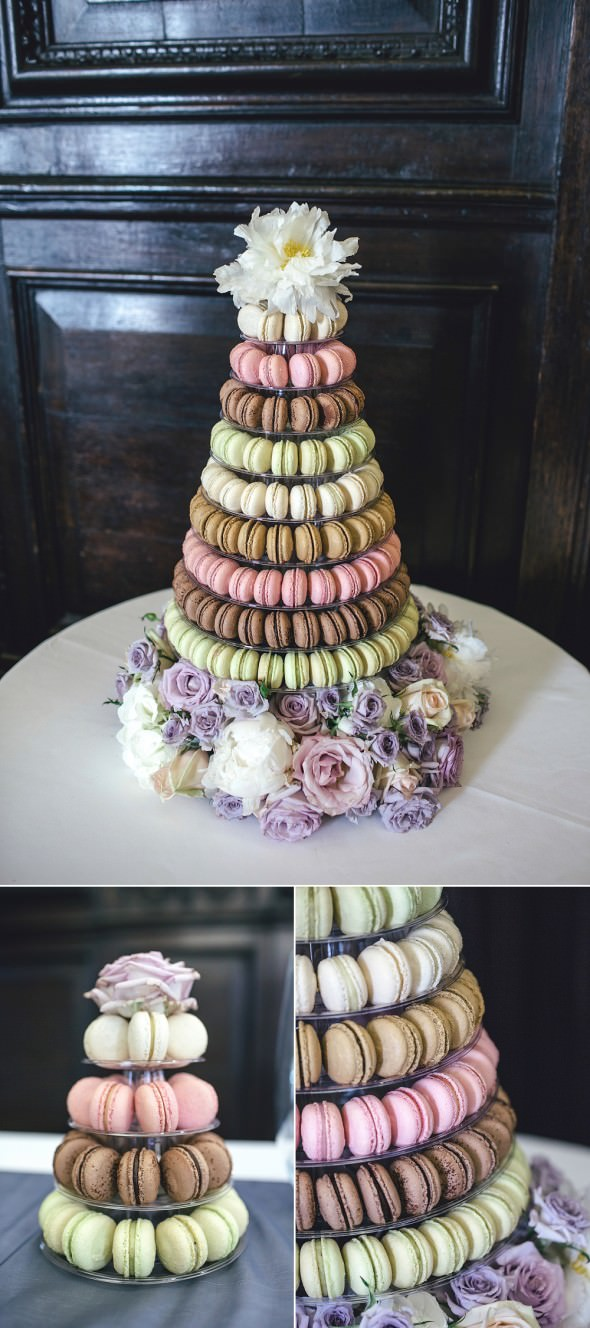 Stationers Hall Wedding Anges de Sucre pastel macaron tower with peony rose flower base and topper