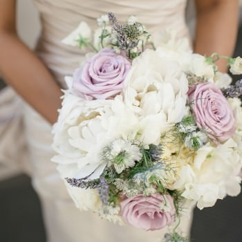 brides bouquet white peonies sweet peas, lilac roses and lavender