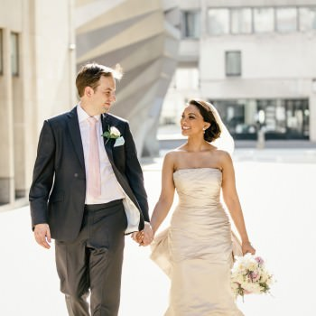 Stationers Hall wedding bride and groom walking in the City