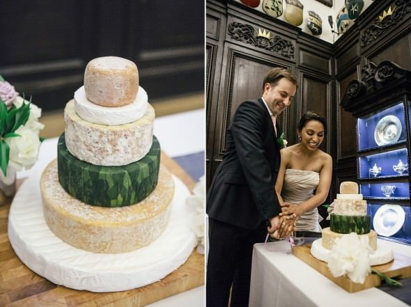 Stationers Hall Wedding real cheese tower cut as wedding cake