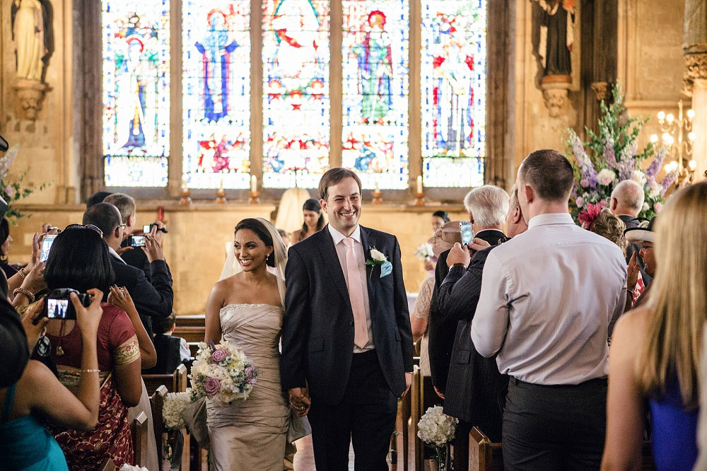 happy couple at St Etheldreda's Church London