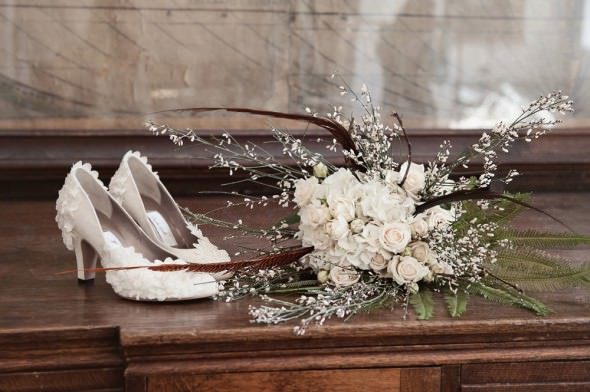 Marsha Hall Bespoke wedding shoes and organic texture feather bouquet