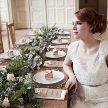 jenny packham wedding dress bride at foliage runner wedding table