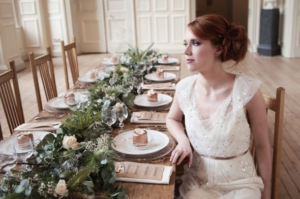 jenny packham wedding dress bride at foliage runner wedding table
