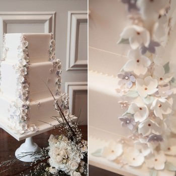 little boutique bakery delicate sugar paste flowers on square stacked wedding cake