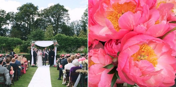 outdoor Jewish Wedding with coral charm peonies