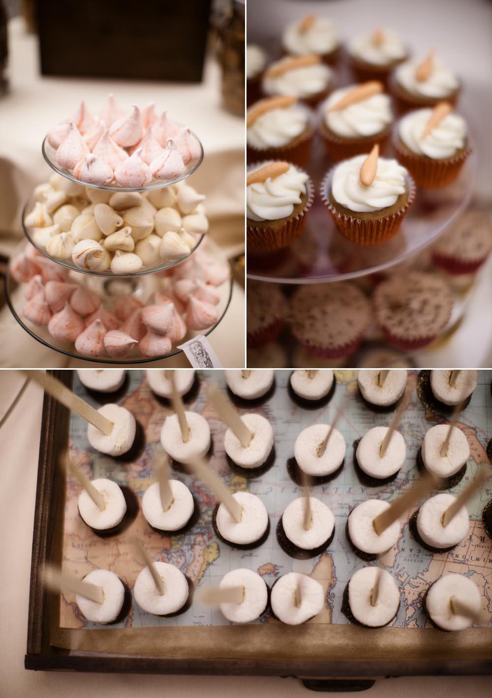 dessert buffet at travel themed wedding