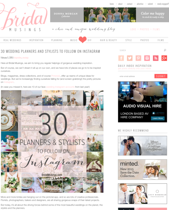 Bridal Musings top 30 wedding planners and stylists on Instagram