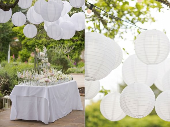 hanging lanterns and escort card display table