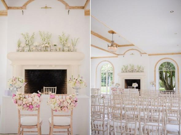 Wedding ceremony set up at Vine Room Northbrook Park
