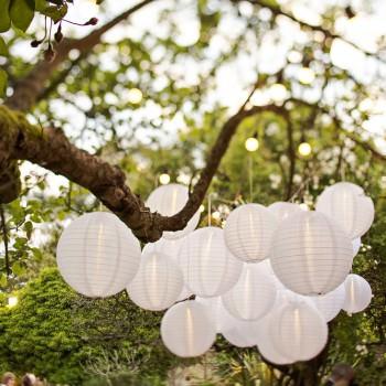 hanging lanterns at night
