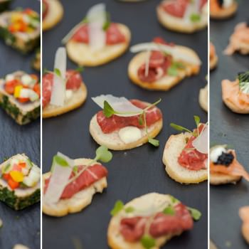 canapes at wedding drinks reception