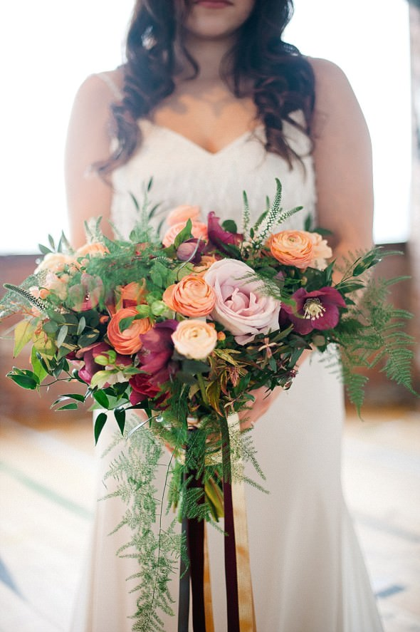 peach ranunculus burgundy clematis bluch roses by Joan Truby Floral Design Photography by Anushe Low