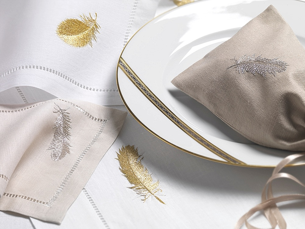 Renassance white and gold dinnerware and linen Blue Ribbon Gift luxury list