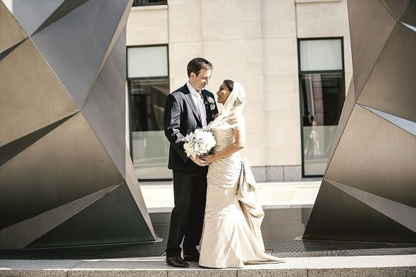 bride and groom in the City of London Kat Hill Photography Always Andri Wedding Design