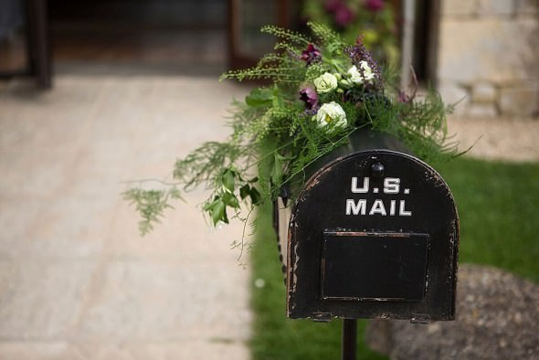 US postbox as wedding gift card box Great Tythe Barn Cotswolds wedding venue