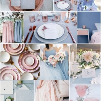 Wedding moodboard, pantone colour of the year Serenity Blue and Rose Quartz Always Andri Wedding Design
