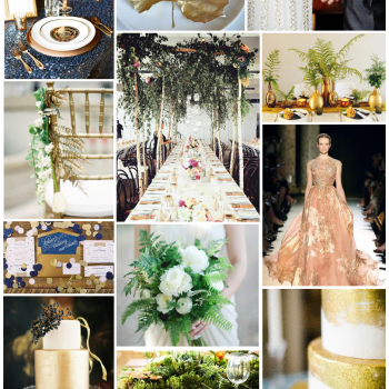 midnight blue and gold metallics rustic glam wedding moodboard