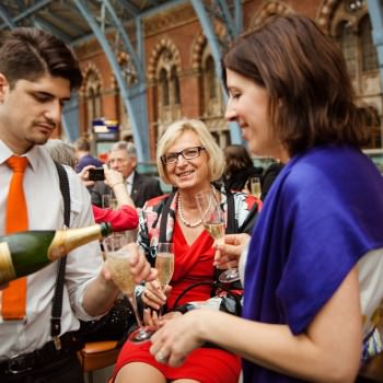 guests enjoy Champagne at wedding | London Wedding The Curries Photogrpahy | Always Andri Wedding Planning