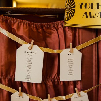 Art deco table plan in vintage suitcase | London Wedding The Curries Photogrpahy | Always Andri Wedding Planning
