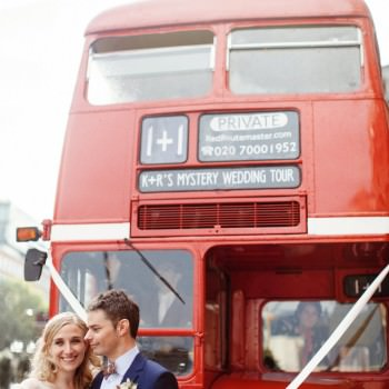 Bride and groom in front of wedding bus | London Wedding The Curries Photogrpahy | Always Andri Wedding Planning