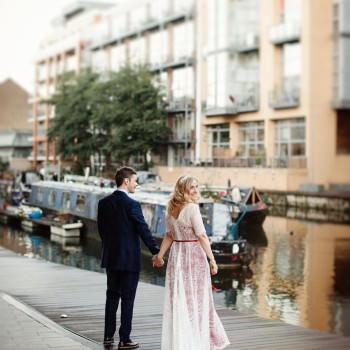 bride and groom by canals bride wears Katya Katya Shehurina | London Wedding The Curries Photogrpahy | Always Andri Wedding Planning