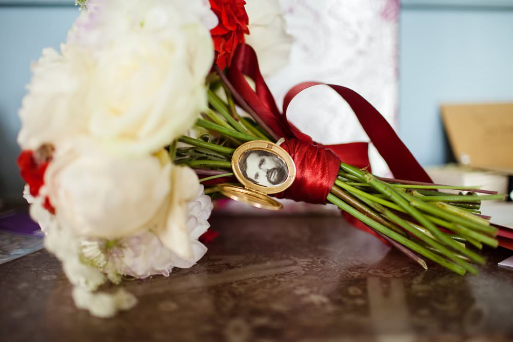 Bride's bouquet with memory locket | London Wedding The Curries Photogrpahy | Always Andri Wedding Planning