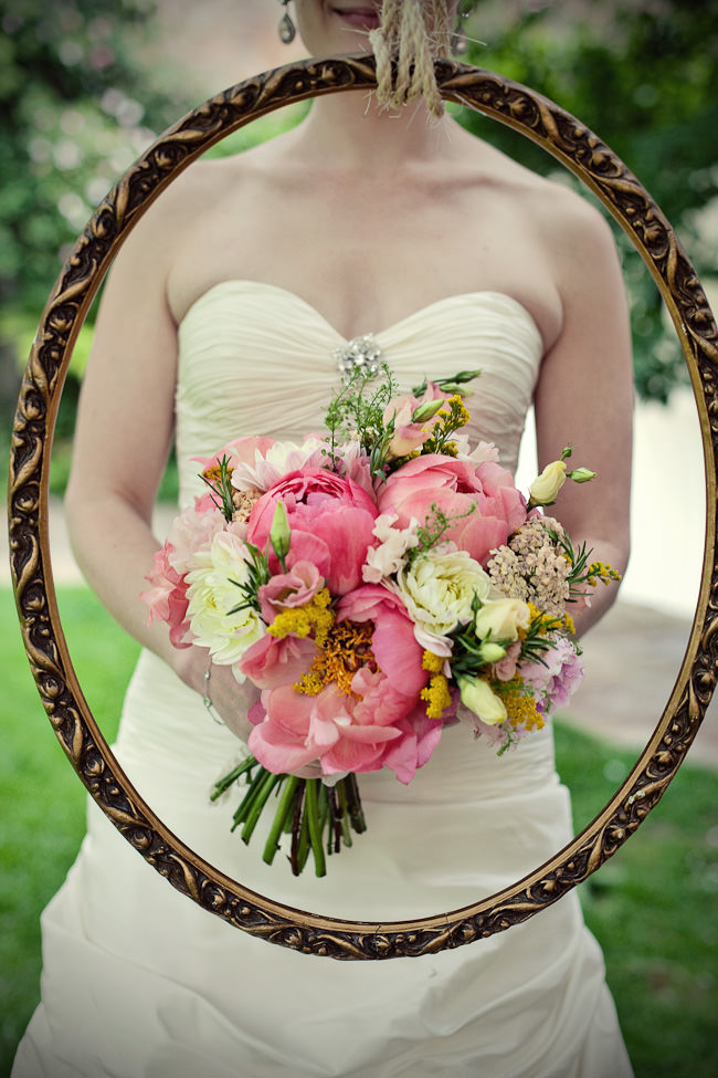 blousy coral charm peonies with dahlias and sprigs of rosemary by fairynuff flowers, image by Marianne Taylor Beautiful Peony Wedding Bouquets Always Andri Wedding Design (1)