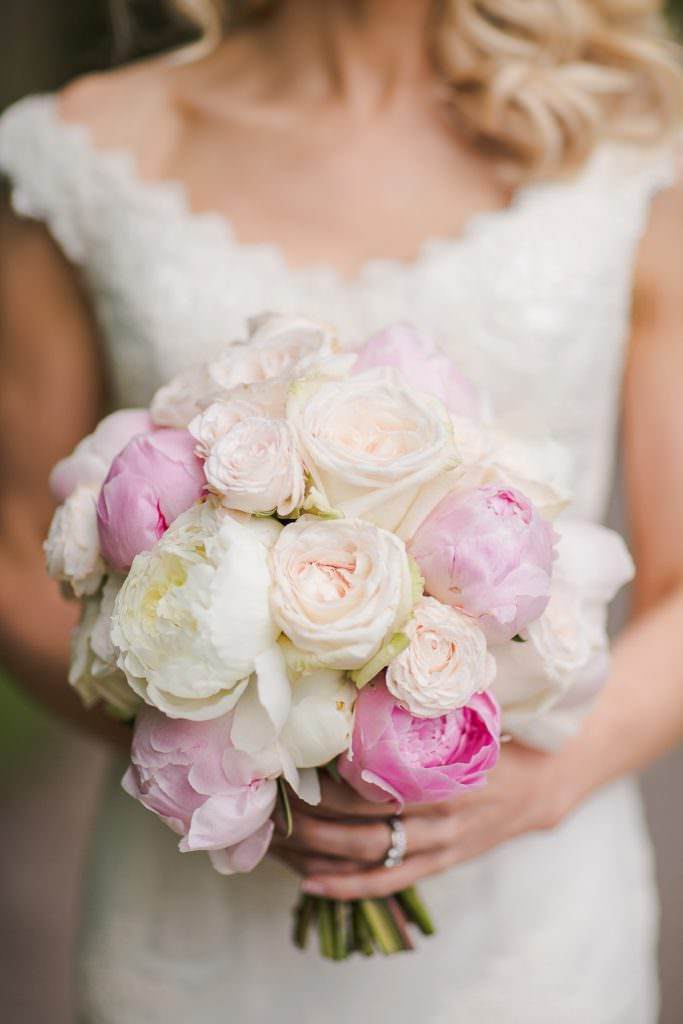 Pink and white peonies mixed with palest blush roses by fairynuff flowers, image by Marianne Taylor Beautiful Peony Wedding Bouquets Always Andri Wedding Design (2)