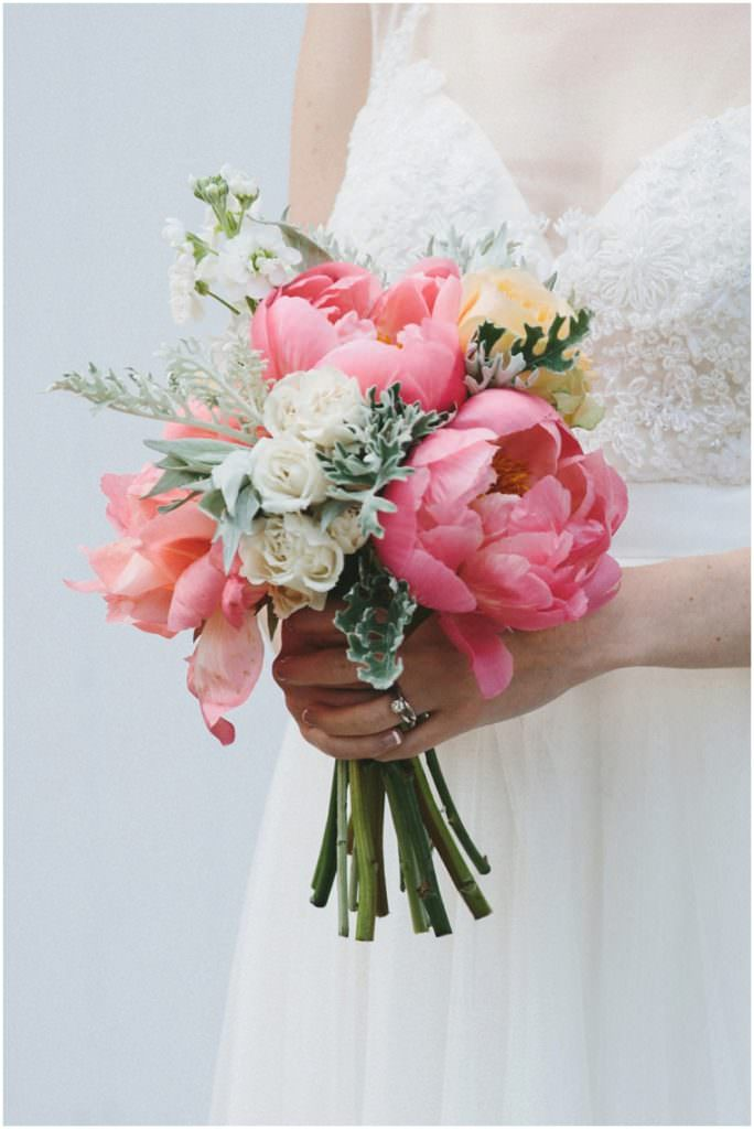 Wedding Bouquet with Coral charm peonies with white roses, stocks and dusty miller foliage by Grace + Thorn image by Mckinley-RodgersBeautiful Peony Wedding Bouquets Always Andri Wedding Design (3)