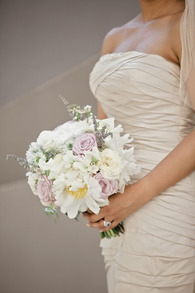 Wedding Bouquet with white peonies with white and lilac roses, sweet peas and lavender sprigs by Blue Sky Flowers image by Kat Hill