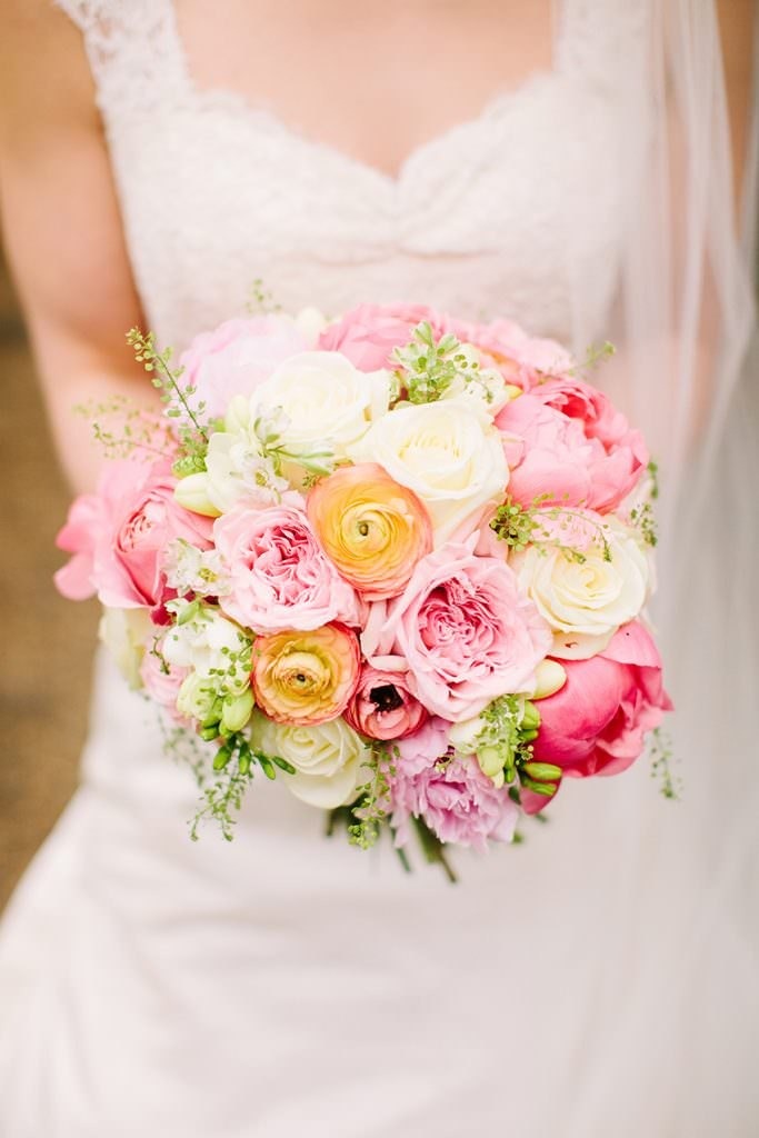 Wedding bouquet with coral charm peonies with ranunculus, roses and freesias by fairynuff flowers image by Olivia Leigh Beautiful Peony Wedding Bouquets Always Andri Wedding Design (6)