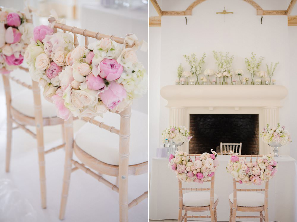 alternative wedding chair camelot chiavari chair Northbrook Park wedding Peonie garland