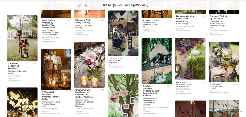 Rustic Luxe Tipi WEdding Pinterest Board Design a wedding