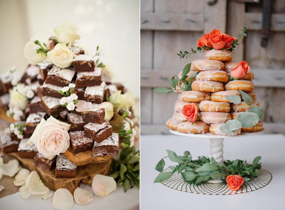 alternative-to-traditional-wedding-cake-ideas-brownie-dougnut-towers