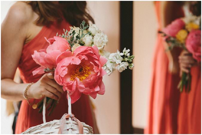 bridesmaid in coral dress with coral peonie bouquet| Mckinley Rodgers Photography | Jewish wedding
