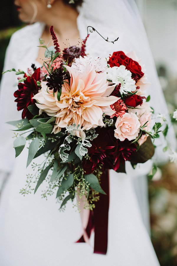 Oversized blush and red dahlia bouquet