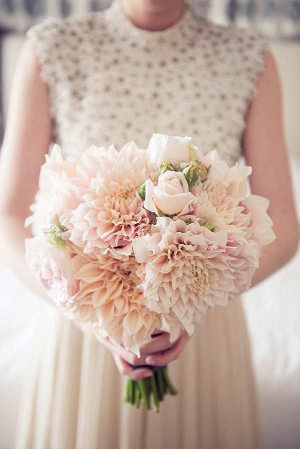 blush pink cafe ua lait dahlia wedding bouquet