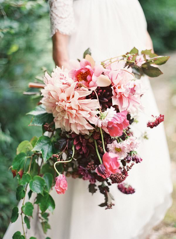 unstructured blush and red dahlia bouquet