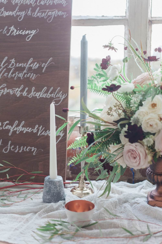 wedding flowers and signage