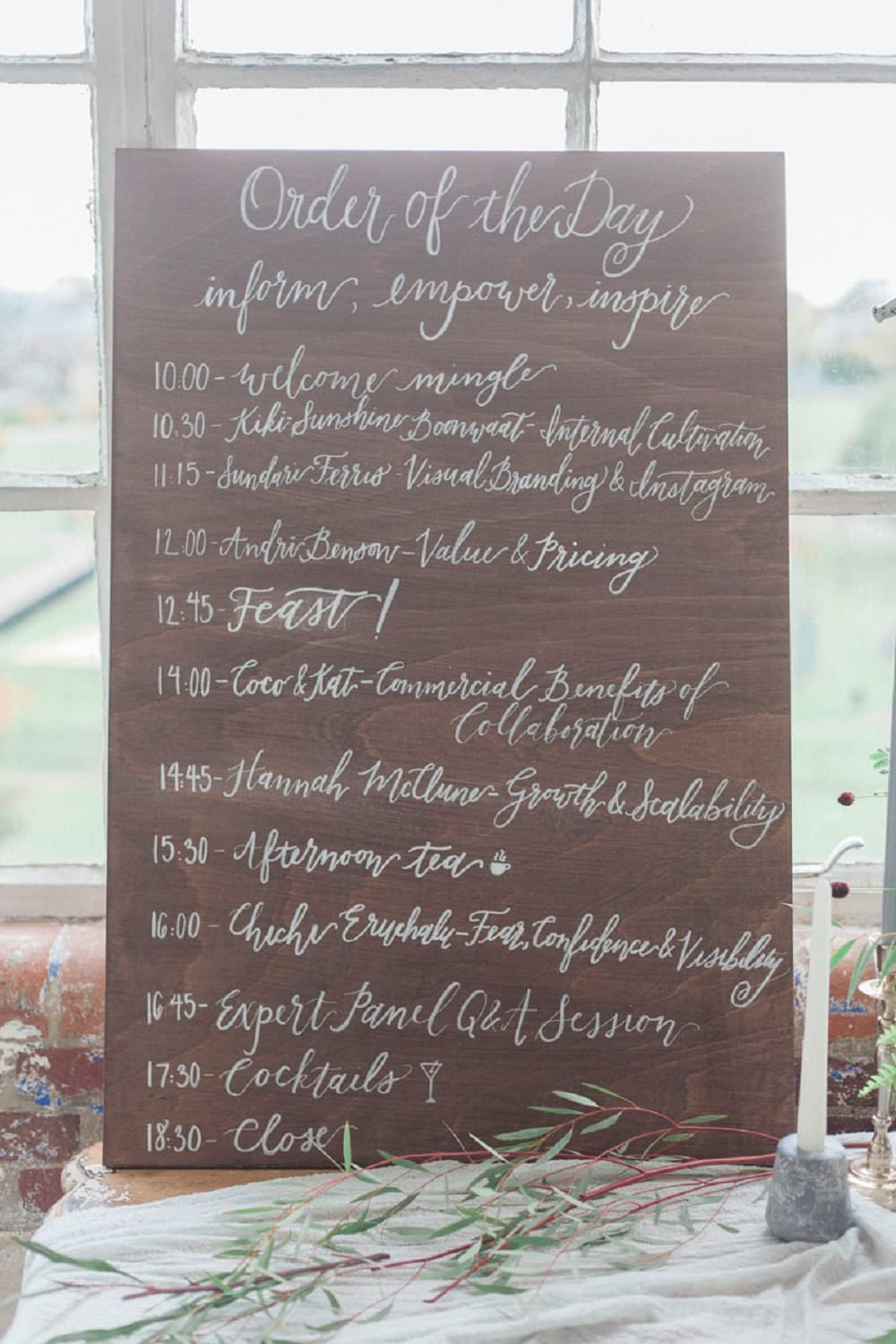 wedding order of the day signage calligraphy