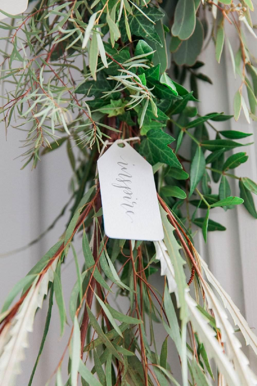 calligraphy tag wedding deocr foliage