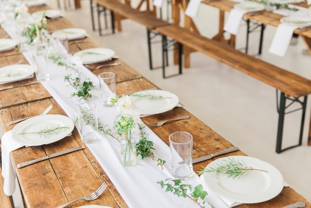 long wooden table wedding styling