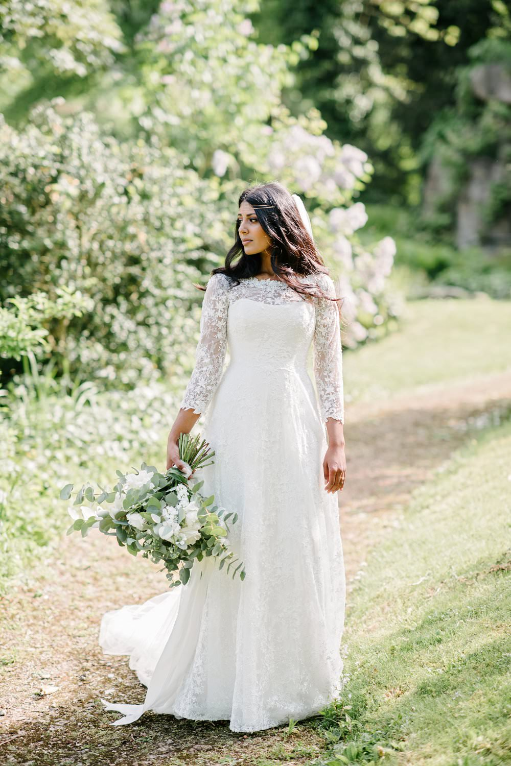 beautiful bride in bespoke ivy leaf lace wedding dress