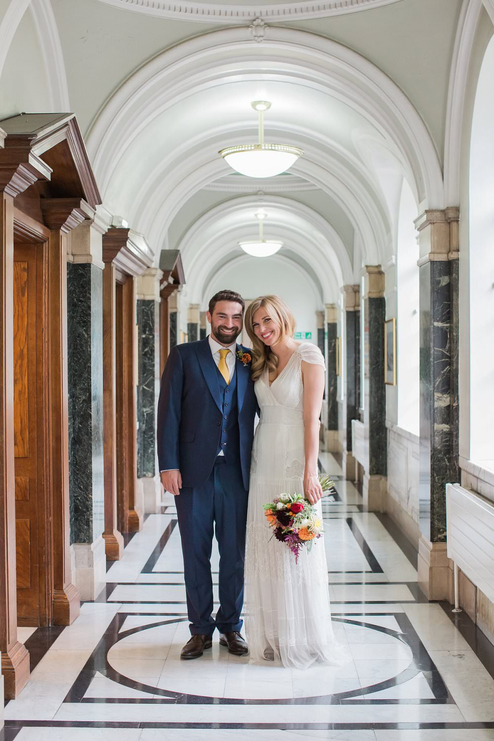 Happy wedding couple at Islington Town hall