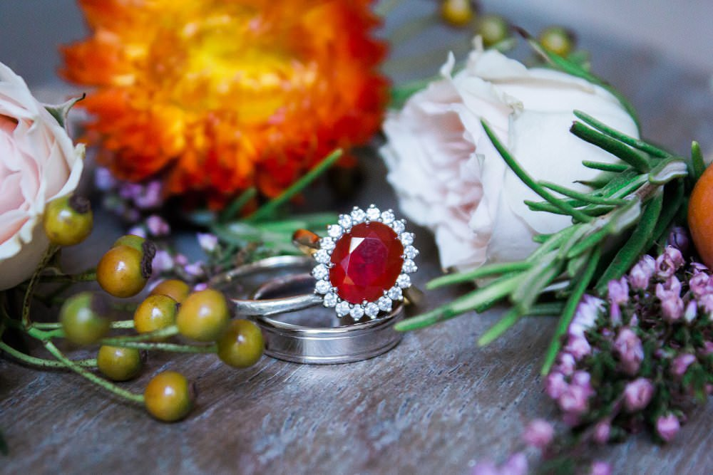 ruby diamond wedding ring with flowers