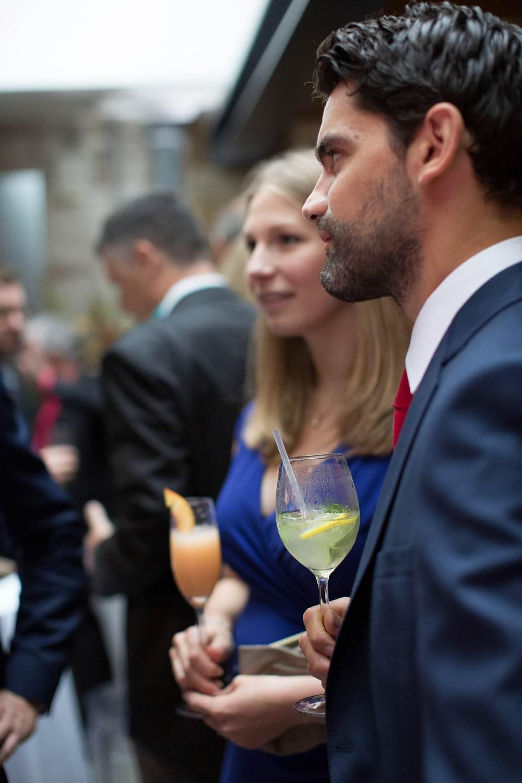 guests enjoying cocktials at wedding party