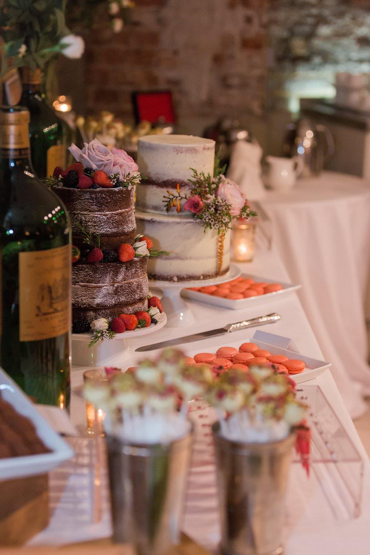 dessert buffet with wedding cakes