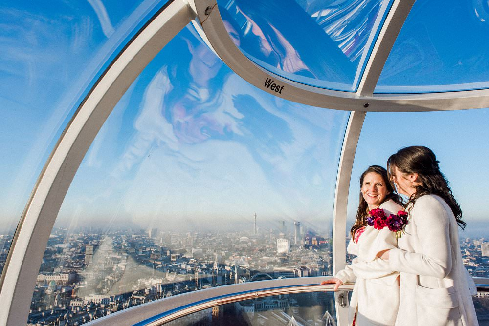 brides on the London Eye at winter wedding