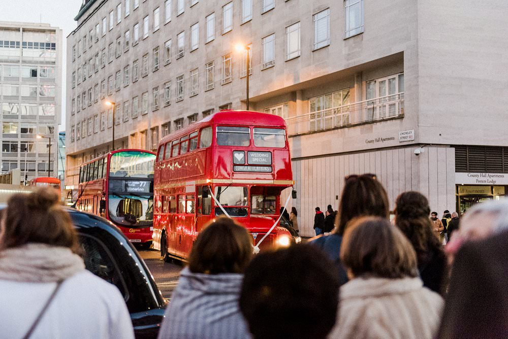 London bus takes wedding guests to t Barts Brewery pub